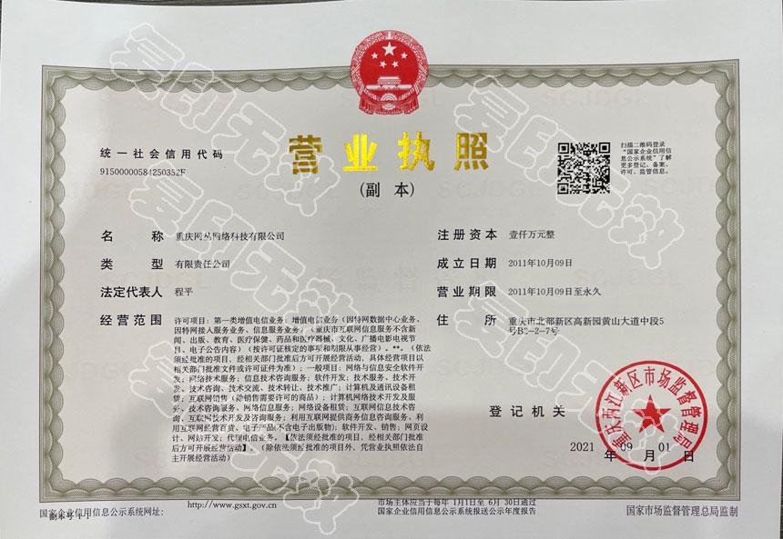 重庆网丛公司营业执照